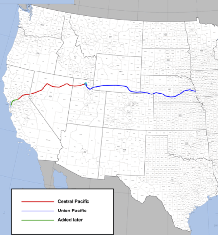 Building Of The Transcontinental Railroad Timeline Timetoast - Us transcontinental railroads map