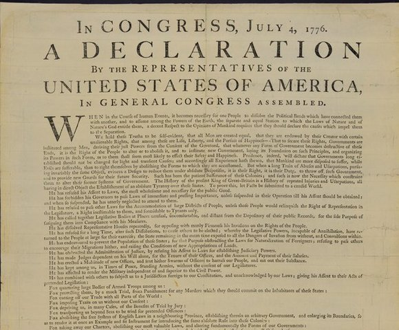 Se escribe la Declaracion de la Independencia de Estados Unidos