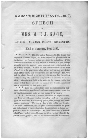 National Woman's Rights Convention in Syracuse, New York