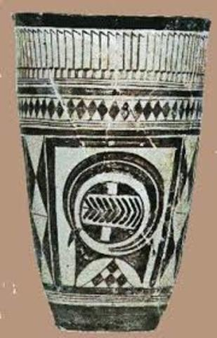 beaker with ibex motifs