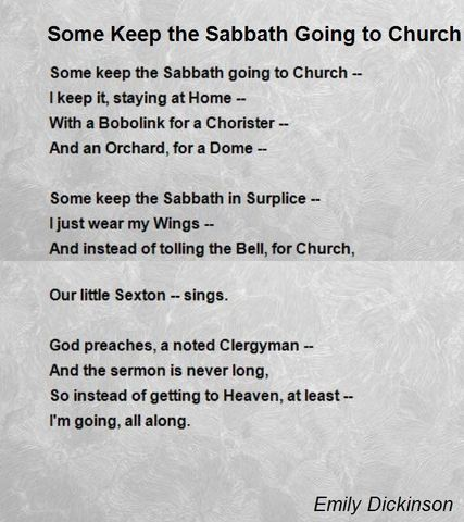 """Some keep the Sabbath going to Church"""