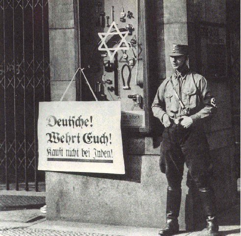 Boycott of Jewish-owned shops and businesses in Germany.
