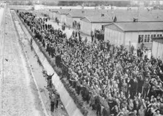 American forces liberate the Dachau concentration camp.