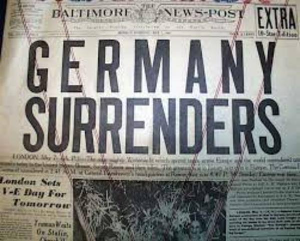 Germany surrenders to the Soviets.