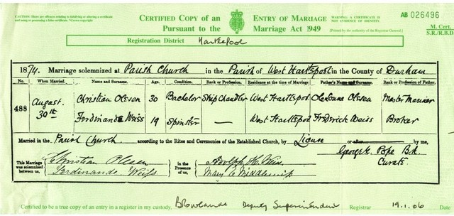 Marriage in West Hartlepool, Durham County, England