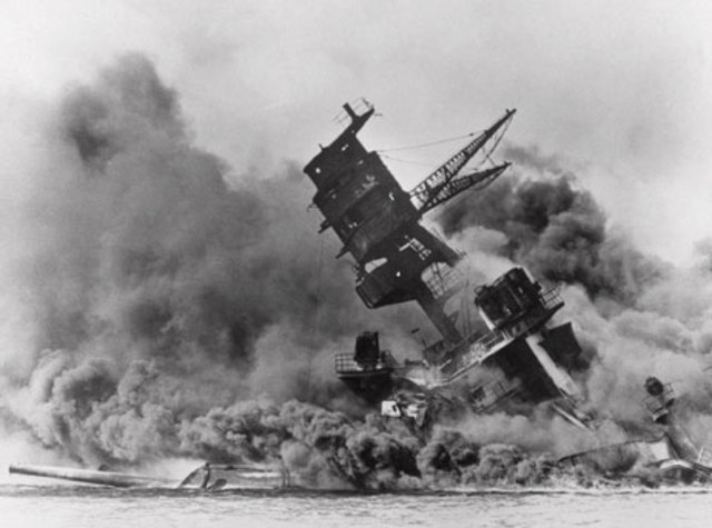 The  Japanese attack the USA Naval Base at Pearl Harbour, Hawaii