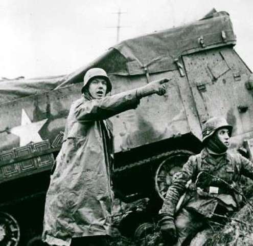 The Germans launch a final offensive in the west, known as the Battle of the Bulge, in an attempt to re-conquer Belgium and split the Allied forces along the German border.