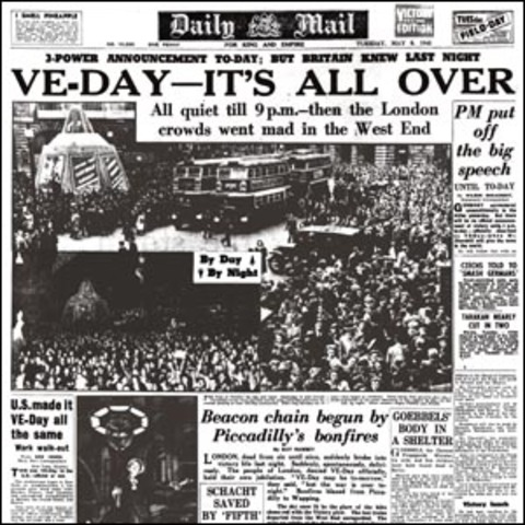 Winston Churchill announces VE Day - Victory in Europe. British people wave flags, sing and dance in the streets. WW2 ends in Europe