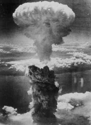 The first atomic bomb is dropped by  The United States on  Hiroshima killing 78,000 citizens
