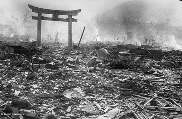 The United States drops an atomic bomb on  Nagasaki.