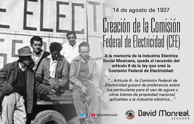SE CREA LA COMISIÓN FEDERAL DE ELECTRICIDAD
