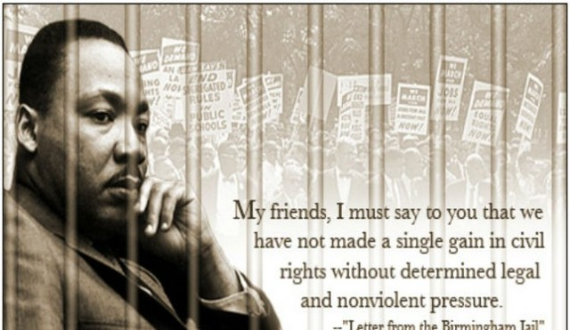 """the cost of freedom in letter from birmingham jail b martin luther king jr Dr martin luther king jr addresses marchers during his 'i have a dream'  speech  his """"letter from a birmingham jail"""" responded to a newspaper  advertisement  he argued how oppressors never voluntarily gave up freedom  to the  us president lyndon b johnson, right, talks with civil rights leaders."""