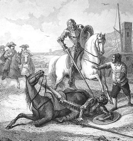 Enfrentamiento entre Don Quijote y el Caballero de la Blanca Luna