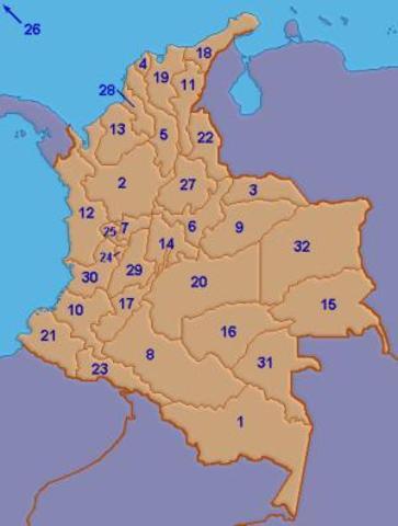 División del país en 34 departamentos