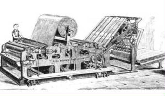 Primer prensa rotativa.