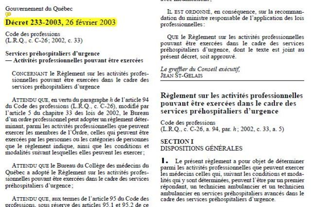 Décret du 26 février 2003 permettant aux soins avancés d'appliquer les 4 protocoles
