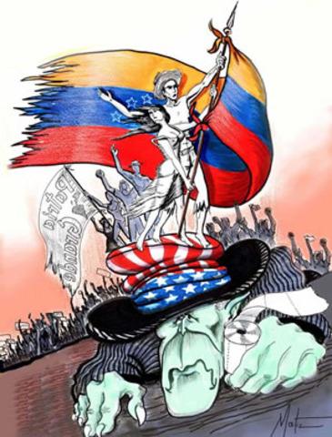 Hugo Chávez en apoyo del presidente electodurante el golpe de estado  en Venezuela.