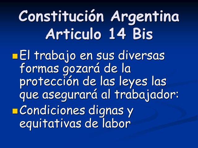 Reforma Constitucional de 1957: Artículo 14 bis,