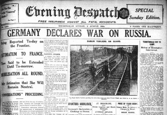 Image result for germany declares war on russia in ww1