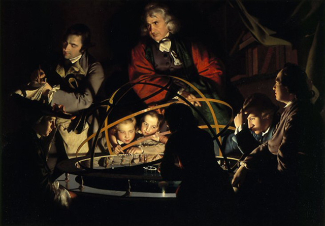 A Philosopher giving a lecture at the orrery, by Joseph Wright of derby