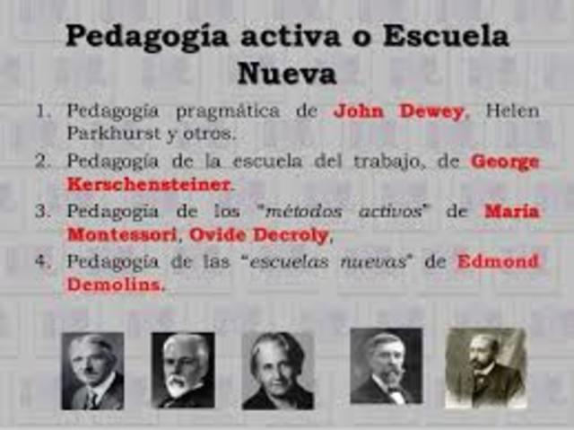 Dewey (1859-1952) es el creador del nuevo concepto pragmático de la educación. Rechaza el aprendizaje mecánico y formal y lo sustituye por la enseñanza basada en la acción y en el interés productivo del niño.