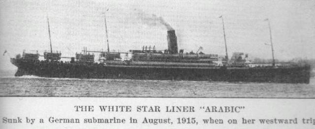 Sinking of British liner Arabic