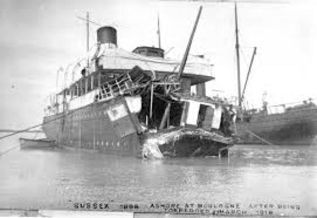 Sinking of French Passenger liner Sussex