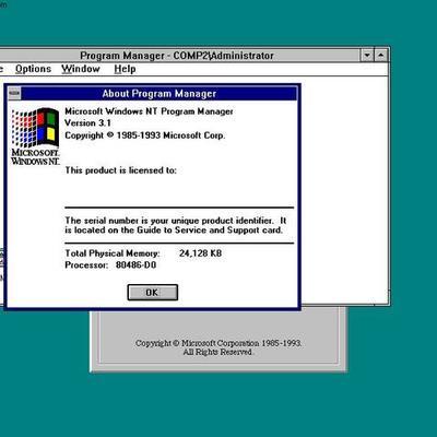 Windows NT 3.1 timeline