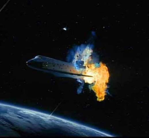 Space Shuttle Columbia explodes killing all 7 astronauts.