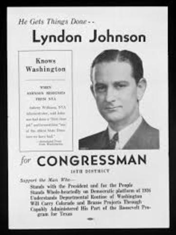 Johnson begins service as a congressman.