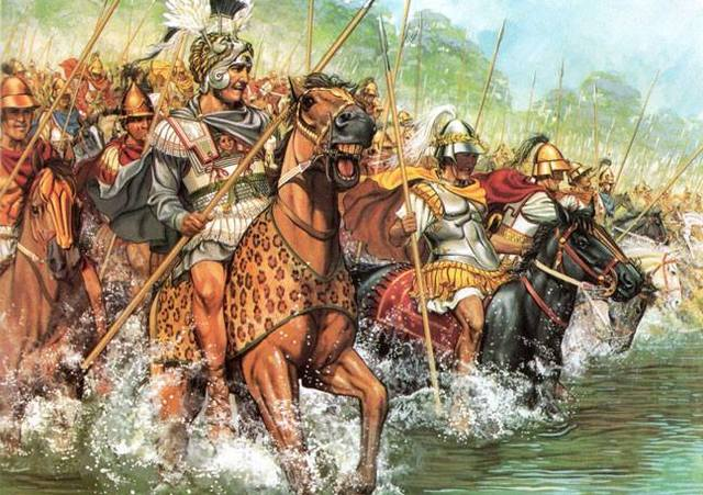 Alexander leads a victorious attack against Darius III