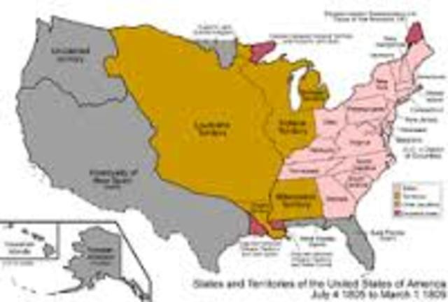 Louisiana Territory reorganized as Missouri Territory