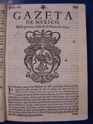 La tercera gaceta de México, 1784