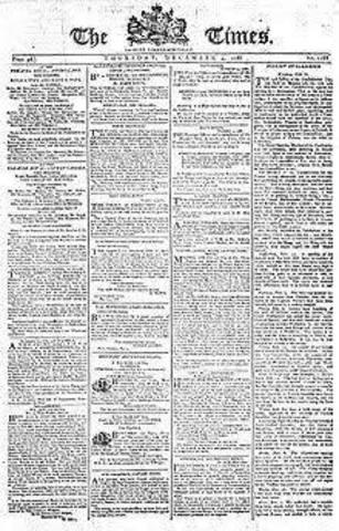 Nace el periódico 'the times'