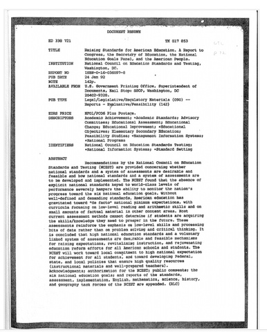 1993 National Council on Education Standards and Testing