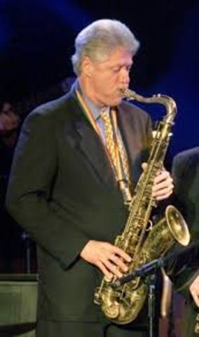 the man played the saxphone.