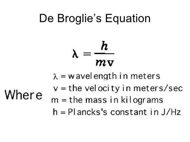 Louis De Broglie cont.