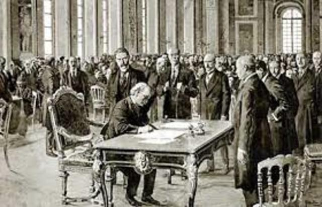 The Treaty of Versailles was signed by the Germans
