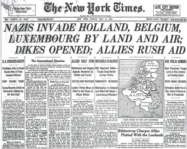 Nazis invade France, Belgium, Luxembourg and the Netherlands