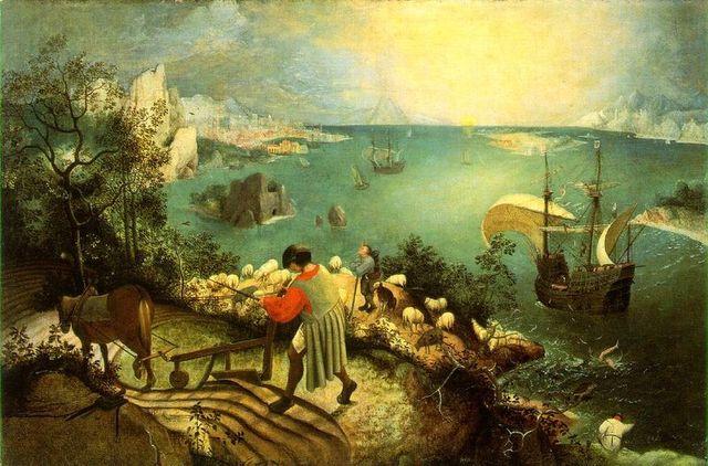Maastik Ikarose kukkumisega