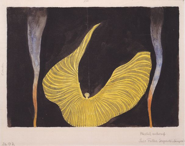 Watercolor of Loie Fuller Dancing, Koloman Moser