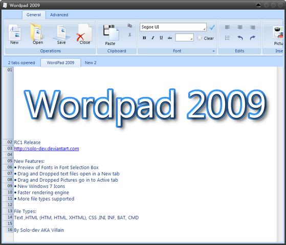 WORD PAD 2009