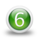102992 3d glossy green orb icon alphanumeric number 6