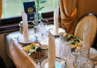 Luxury dining on board the Golden Eagle