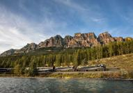 Rocky Mountaineer passing Castle Rock - photo by Rocky Mountaineer