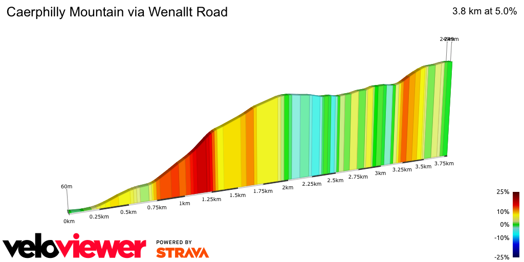 2D Elevation profile image for Caerphilly Mountain via Wenallt Road