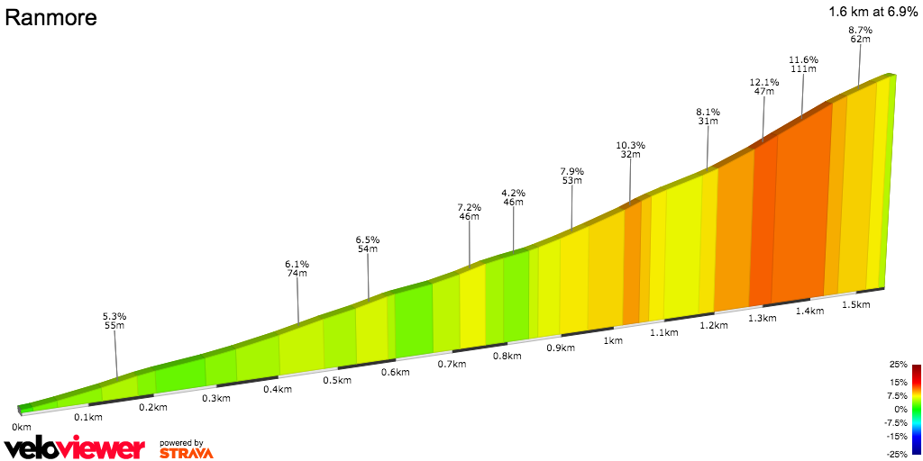 2D Elevation profile image for Ranmore Common Road