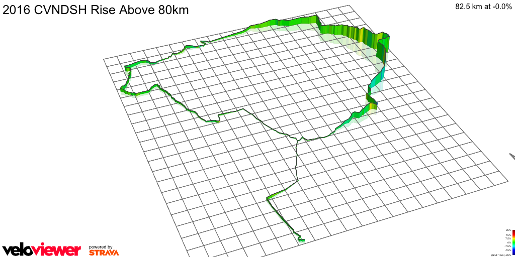 3D Elevation profile image for 2016 CVNDSH Rise Above 80km