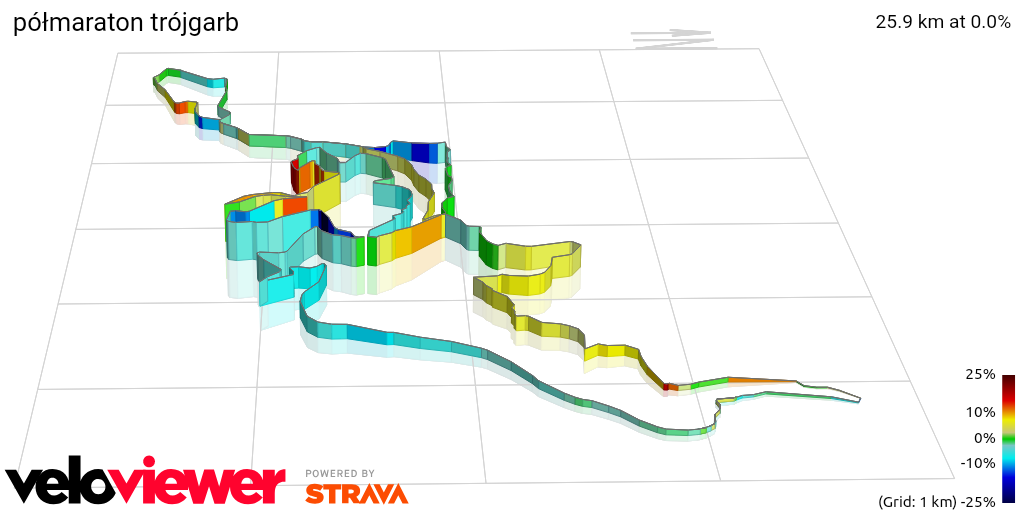 3D Elevation profile image for półmaraton trójgarb
