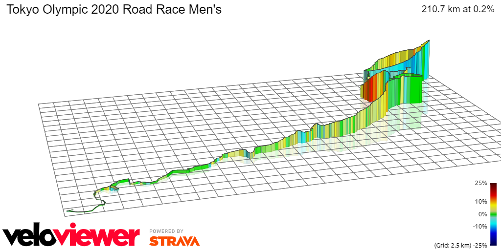 3D Elevation profile image for Tokyo Olympic 2020 Road Race Men's